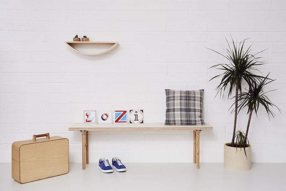 Bench, Smile Shelf, Plant Pot.
