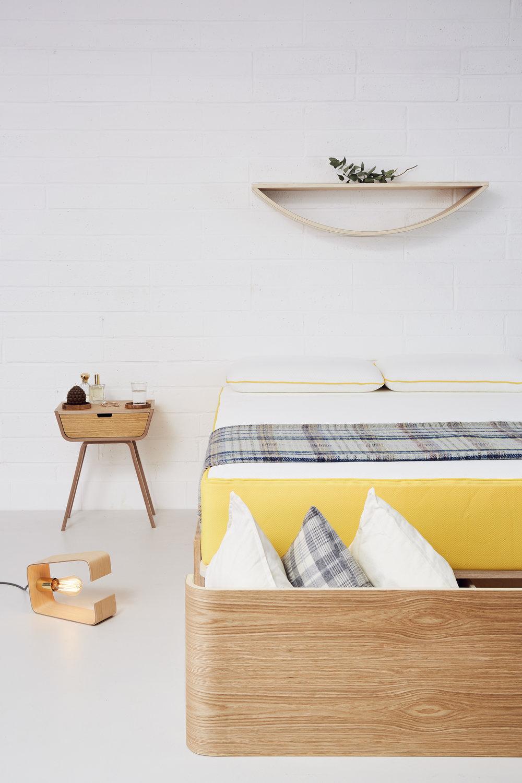 Smile shelf, Fab lamp, bed, bedside table