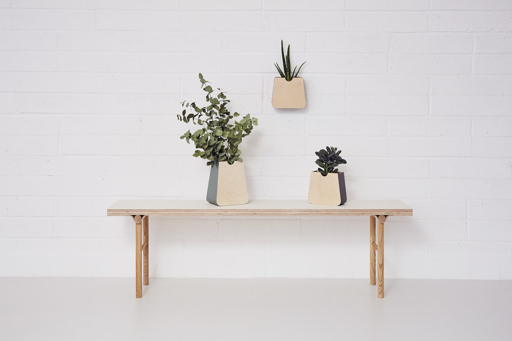 Bench (£240) with Erlen planters (£30 - £45)