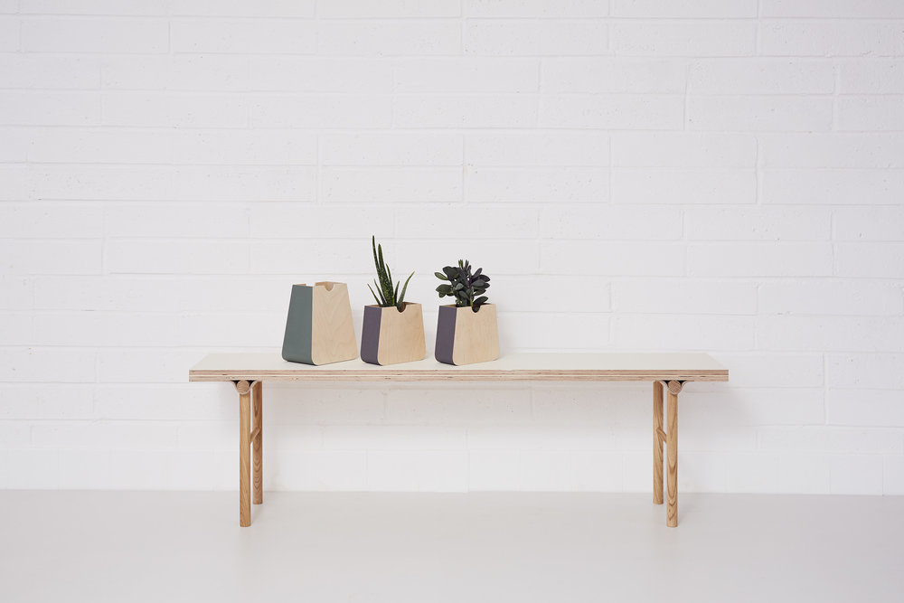 Wall mounted Erlen planter (£45 with plant). Table top Erlen planter (£45) . Bench. (£240)