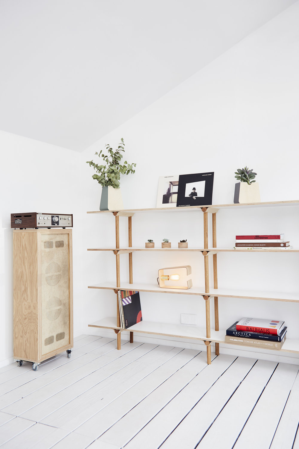 Large shelving system (£720), Erlen planters (£30 & £45) Single fab Lamp (£90)