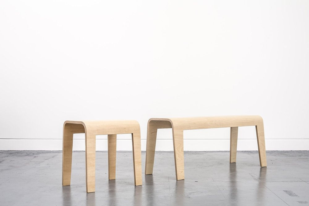 Curved Bench and Curved Stool