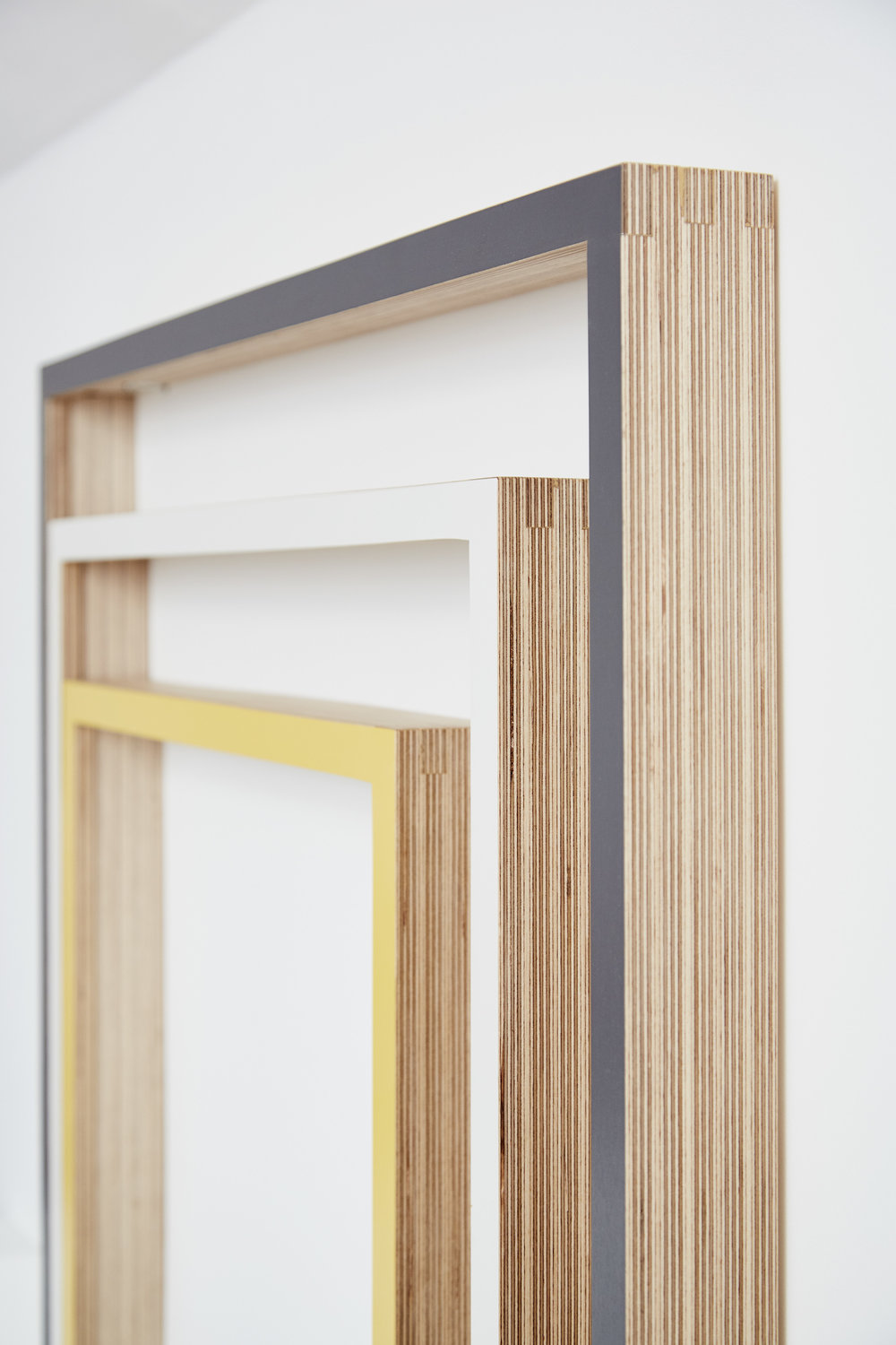 Picture frames made from finger jointed birch plywood.