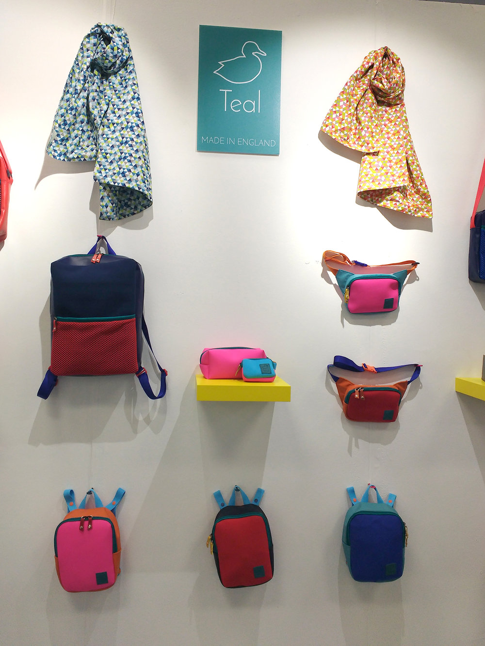 Teal's Collection of brightly coloured bags.