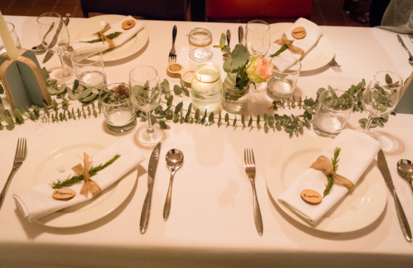 The romantic table setting, full of flowers from columbia road. Photo: Magnus Arrevad.