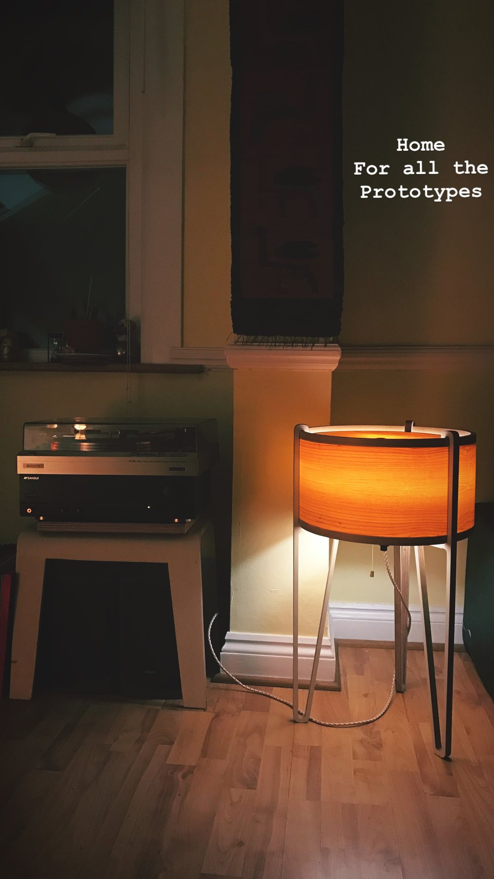 The floor lamp prototype at home in Lozi's founder's flat.