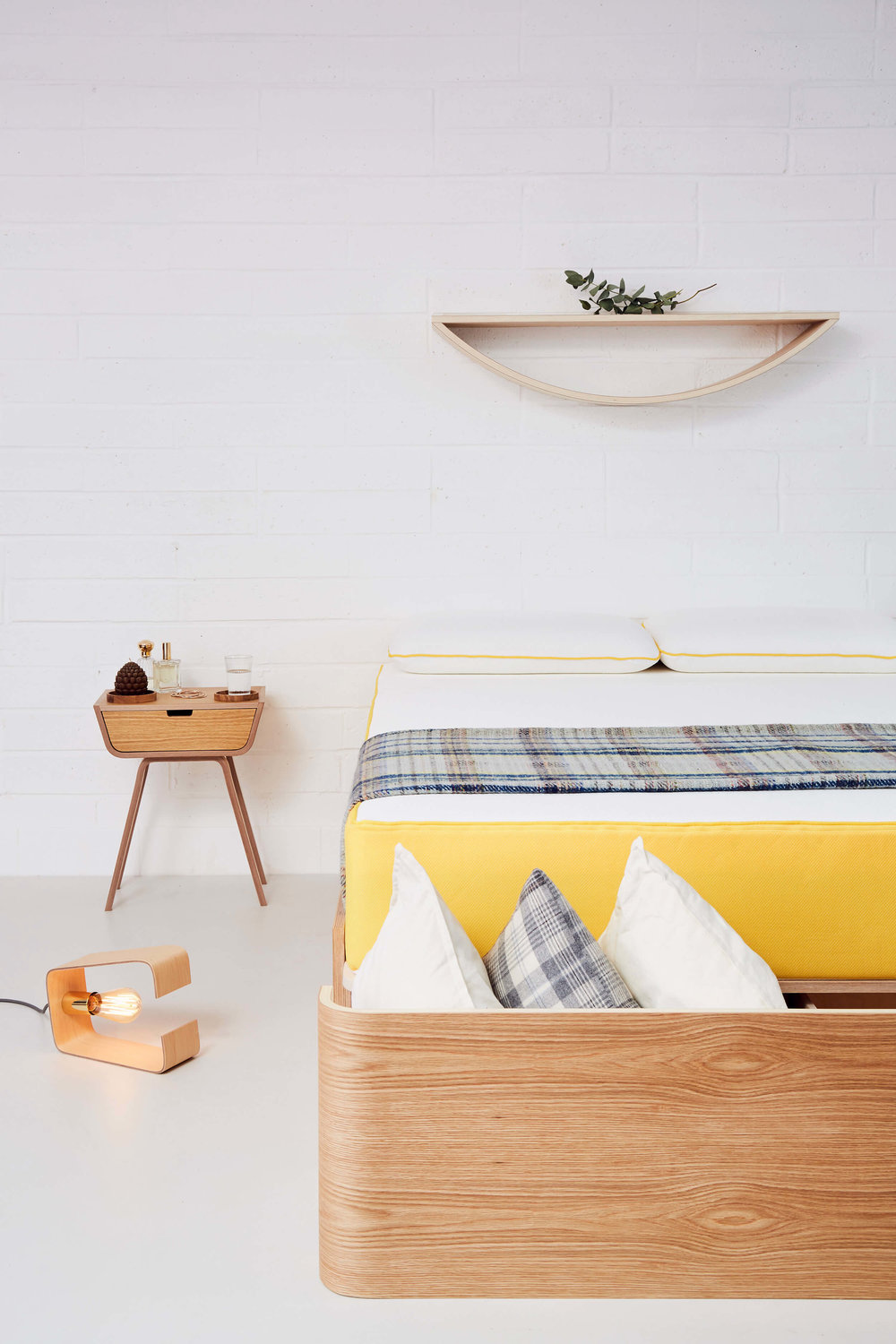 Lozi's new plywood bedframe and bedside table