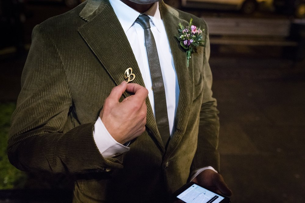 Soroush getting ready to enter Hackney Town Hall, with his golden B broach especially brought over from the United States! Photo: Magnus Arrevad