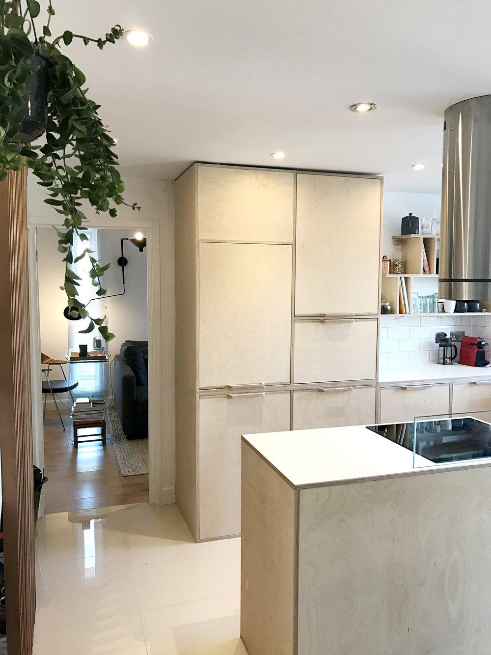 Lozi's birch kitchen design in shoreditch East London