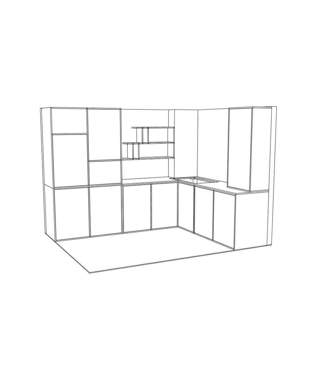 The 3D design file for Lozi's Birch kitchen