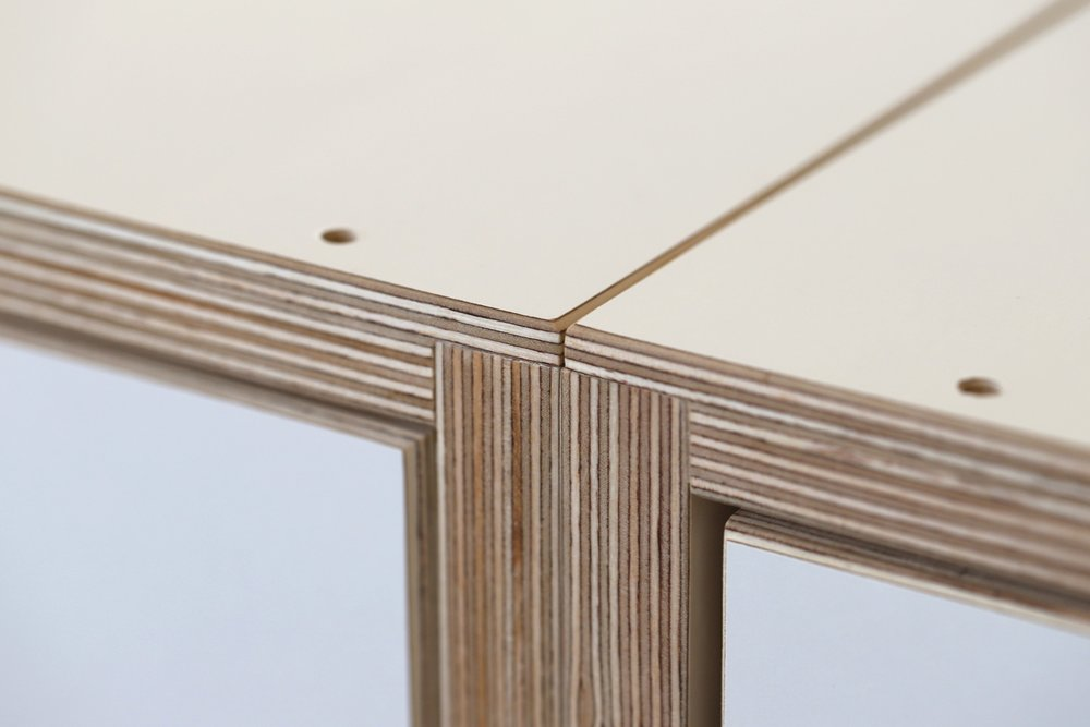 A close up of the plywood joins.