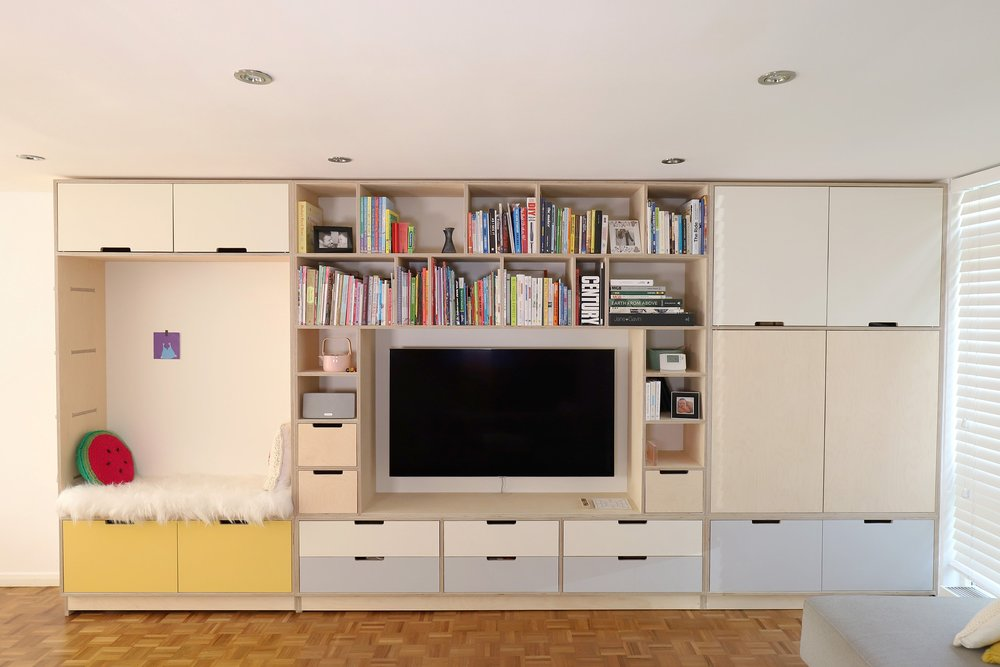 Front view of Gavin's birch plywood bespoke storage media unit in Highgate by Lozi
