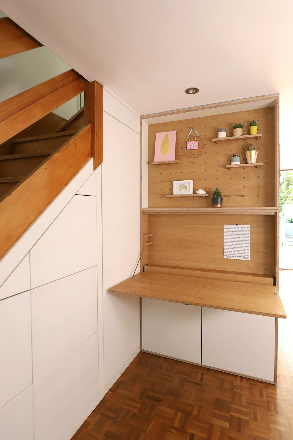 The folding desk when in use.
