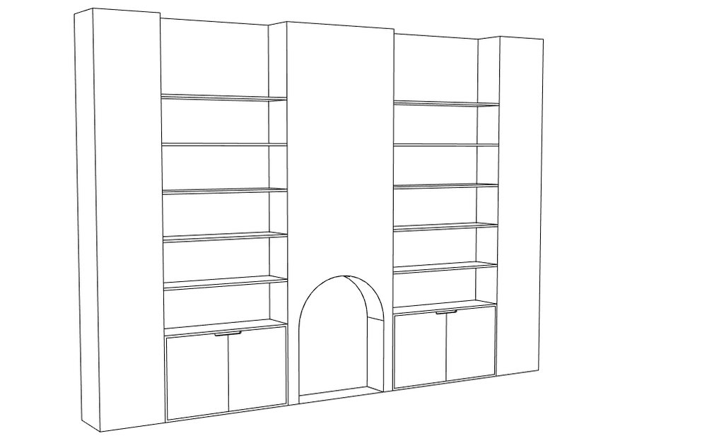 3D model of Cass's laminated birch plywood bespoke alcove shelving in Dalton London by Lozi