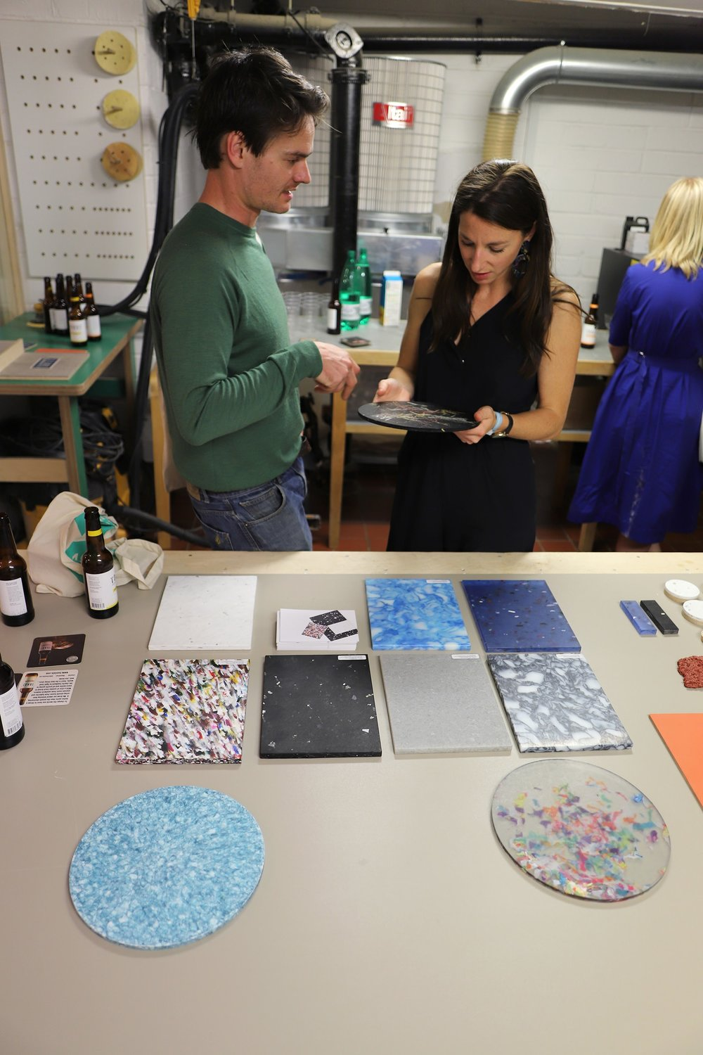 Adam from Smile Plastics talking Helen through his material samples.