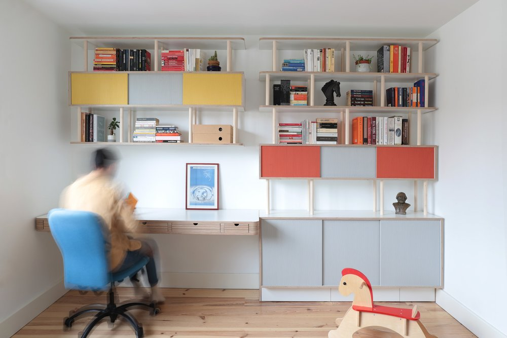 Book editor Ilaria needed plenty of storage space for her home office in East London. Her ≤ book collection needed its own space and she needed a quiet ... & Lozi - Bespoke Plywood Furniture - Office Storage