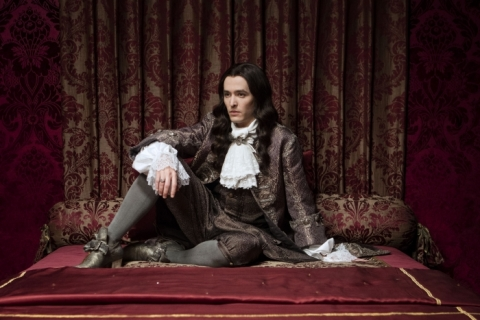 The King's brother, Philippe (Alexander Vlahos), is NOT happy that his lover, the Chevalier, is in exile.