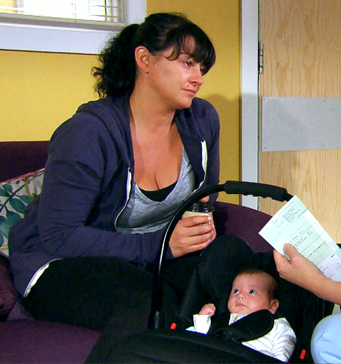 Faith covers when Moira abandons her baby at the hospital