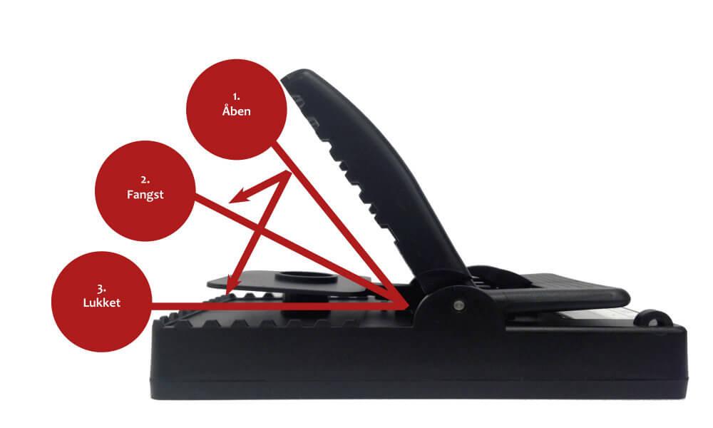 TrapMe fælden arbejde med et patenteret målesystem der indikere om der er fangst eller ikke..  • Åben og aktiveret:  TrapMe måler og sender signal til TrapMe Portalen. • Fangst:  TrapMe måler og sender signal til TrapMe Portalen. • Lukket – falsk alarm:  TrapMe måler og sender signal til TrapMe Portalen.