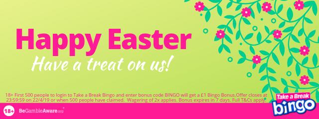 First 500 people to enter bonus code BINGO get a £1 BIngo Bonus.