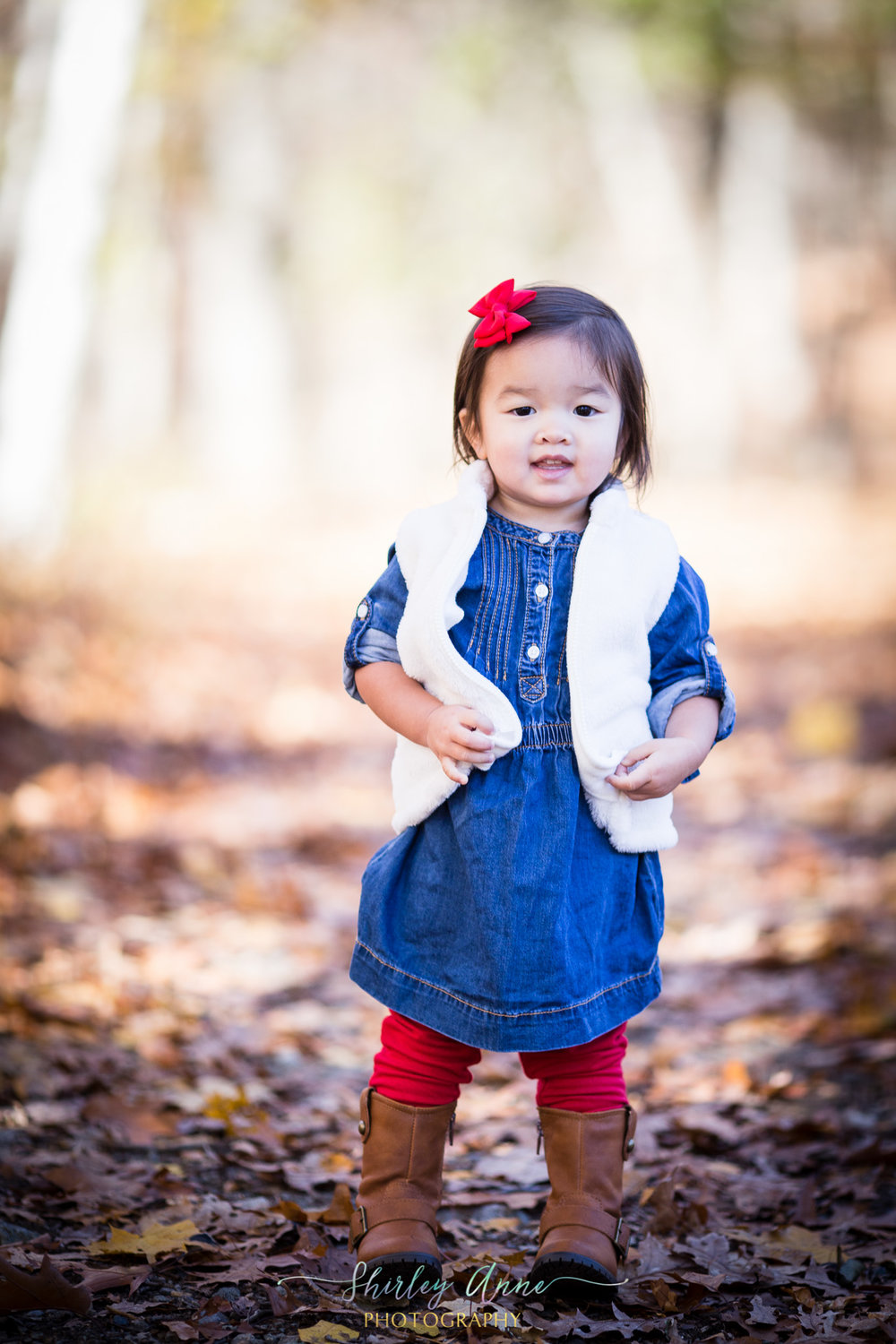 asian little girl outdoors in fall foliage in boston ma