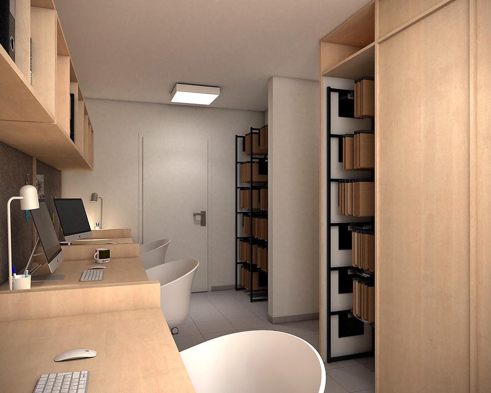aménagement d'un espace bureau pour des professionnels à seneffe
