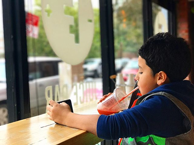 Mango Berry fusion to start the day. PS: You can tell this kid is going places. 😁😁