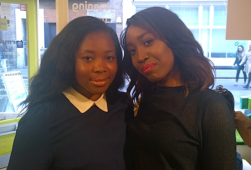 brownbeauty writers, Tunrayo Oyewole and Alexandra Akande showing off their Glitter Lips.