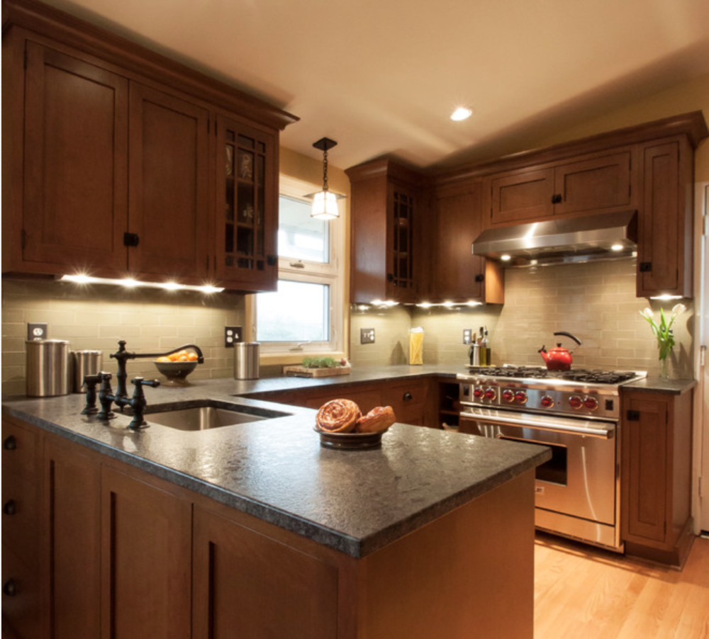 This leathered finish granite has a softer look and feel.