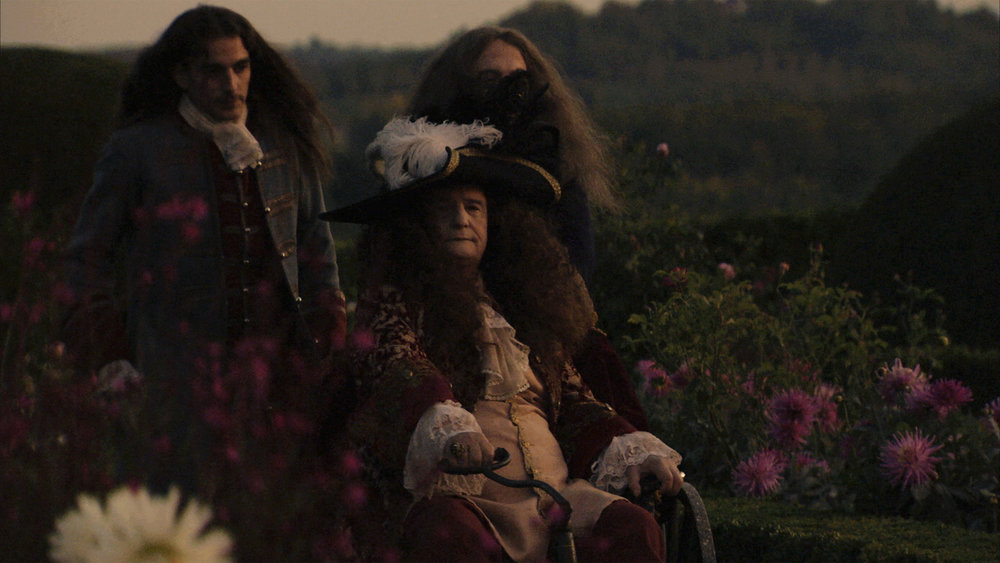 ClÈment Censier, Jean-Pierre LÈaud and Marc Susini (obscured) in a scene from Albert Serra's  The Death of Louis XIV . Courtesy of Cinema Guild.