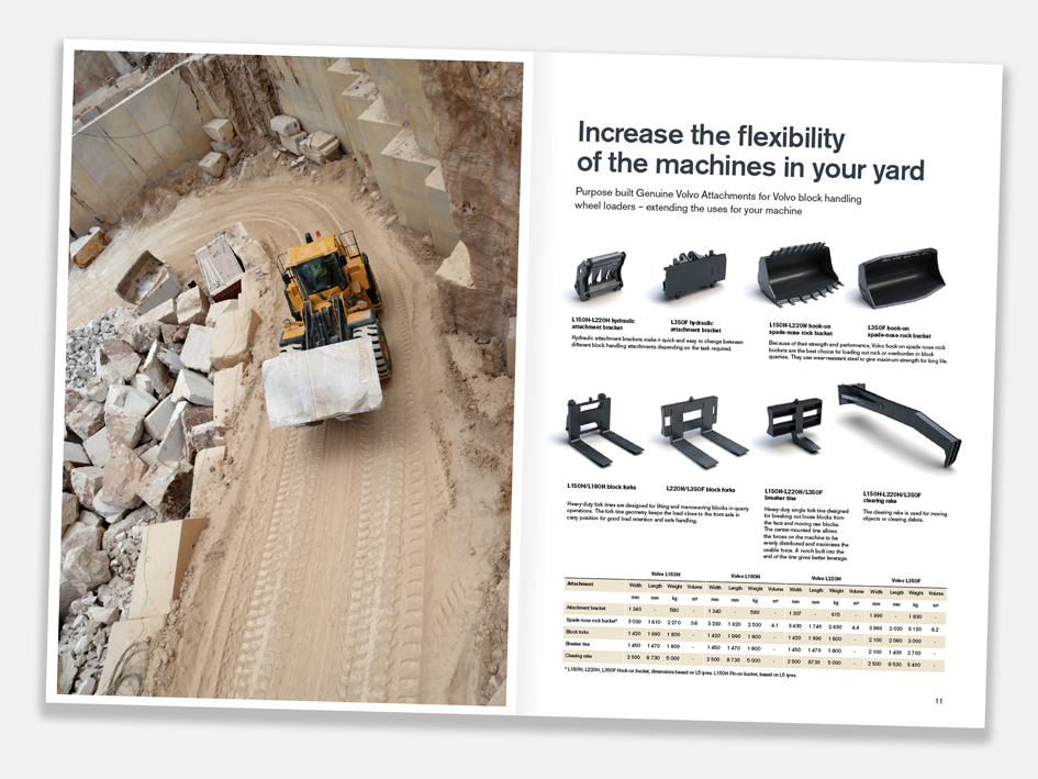 Marble quarrying brochure  Working with the photographer and within brand guidelines, my job is to coax the best out of the imagery provided and complement it with a good layout. Digital retouching is performed where necessary and the copy – usually from more than one source – smoothed and edited to flow better.
