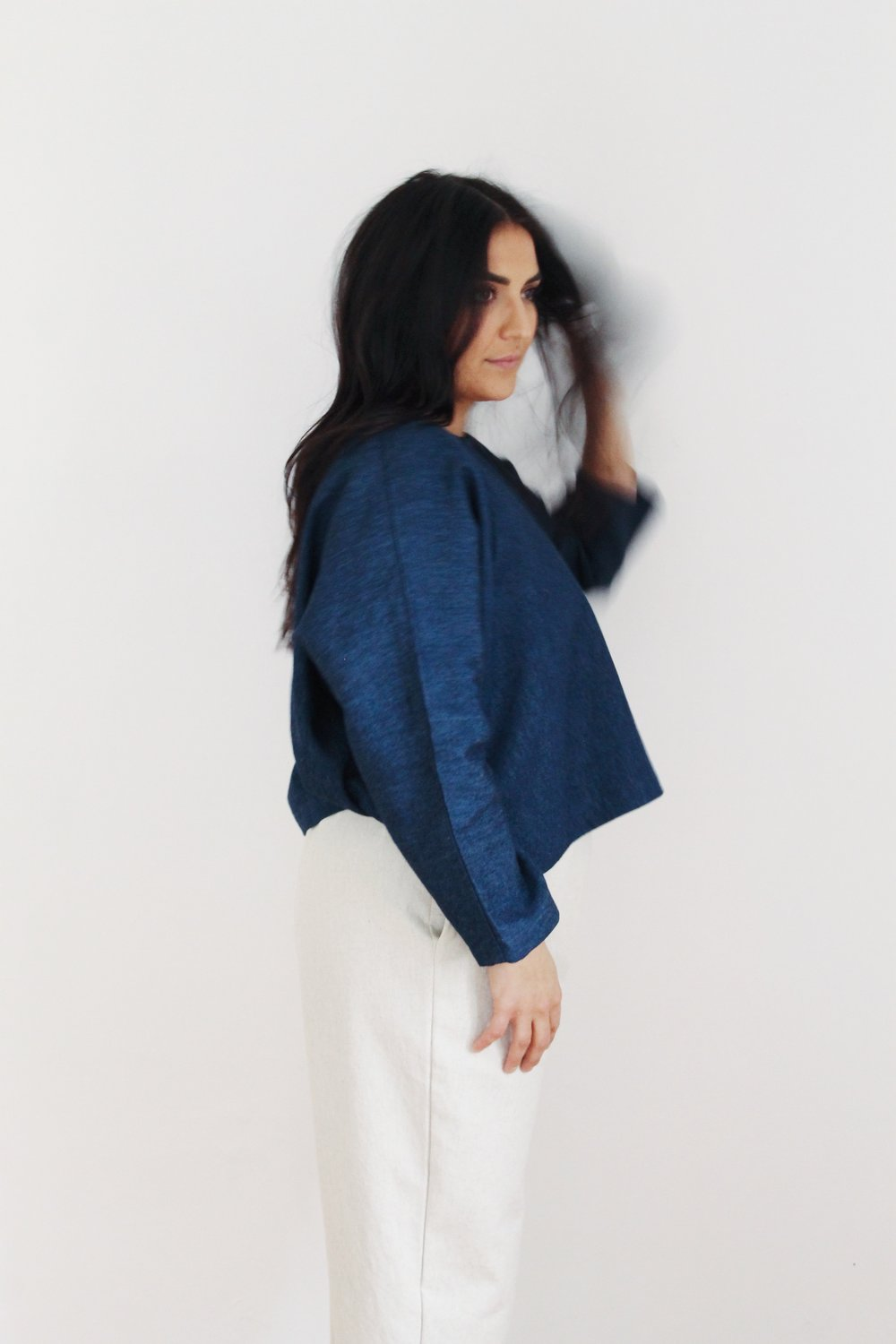 "pullover 3 in hemp organic denim in ""deepest blue"""