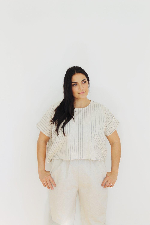 "t-shirt 2 v. 2 in hemp organic cotton in ""tea stripe"""