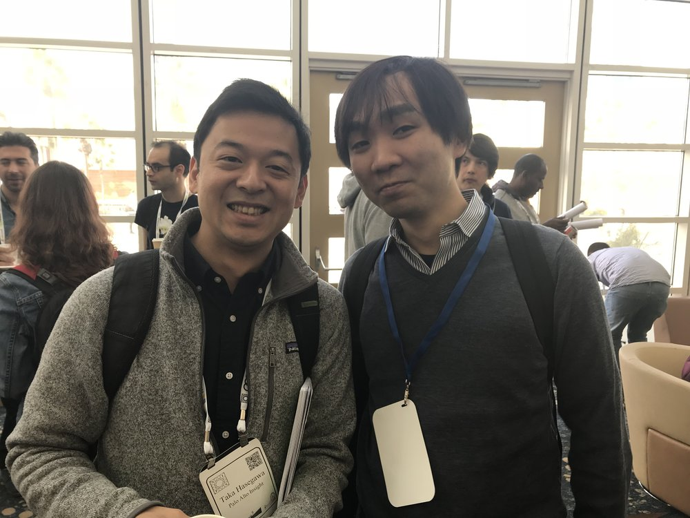 NIPSにてStudio Ousia CTOの山田育矢氏と。優勝おめでとうございます!