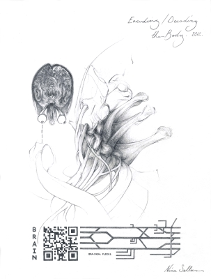 Nina Sellars, Encoding-Decoding the Body, Graphite on Paper, 2012
