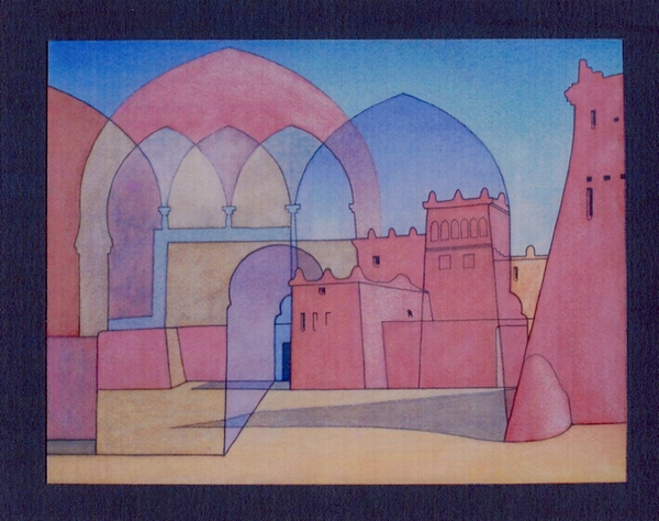 Dominic Boreham, Marrakesh-Ouarzazate I, 1984-85, watercolour and pencil, 29.5 x 38.7.jpg