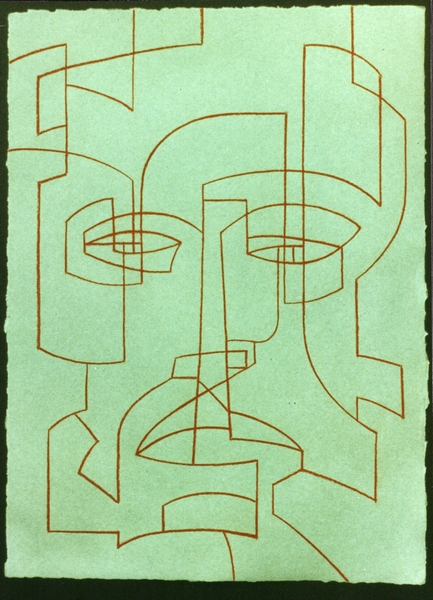 Dominic Boreham, The Guardian IV, 1988, sanguine drawing on Barcham Green 1979 handmade paper 40.0 x 29.3.jpg