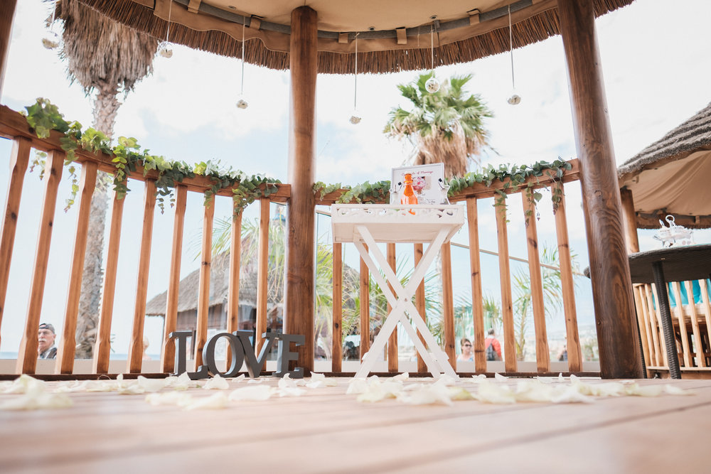 "A romantic cabana where couple said their ""I do's"" <3"