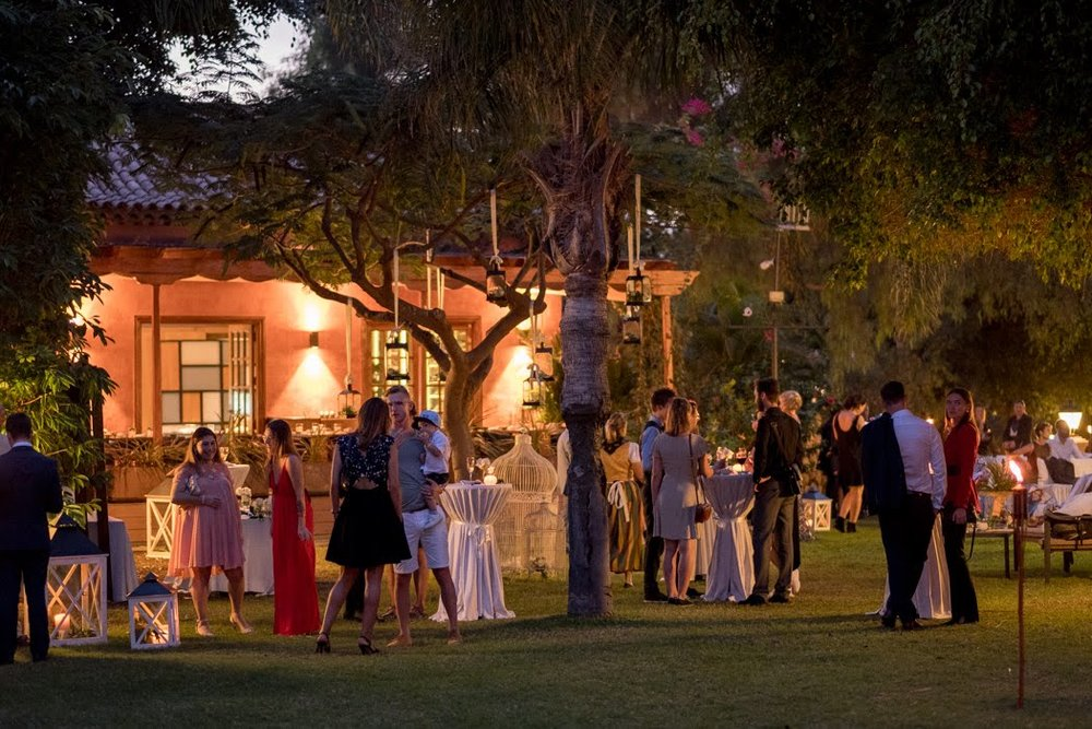 Cocktails after the ceremony in a private garden