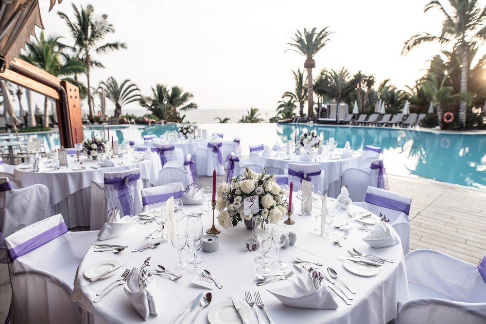 Dinner set up by the pool