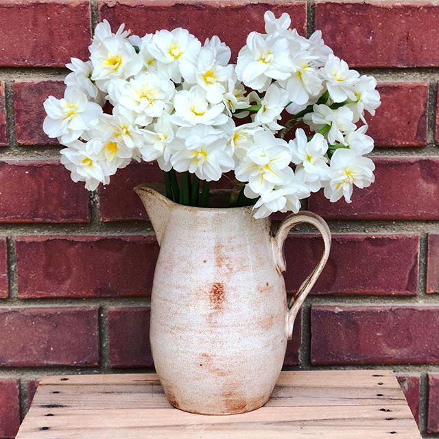 Sometimes I feel like pots have their own little personalities. 🌼 This pitcher/vase combo is heading home with @cmhormann! #clay #clayisbae #madeintn #makersgonnamake #makersmovement #handmade #pottery #pottersofinstagram #cone6 #stoneware #madeinaskutt #memphisartist #stoneware