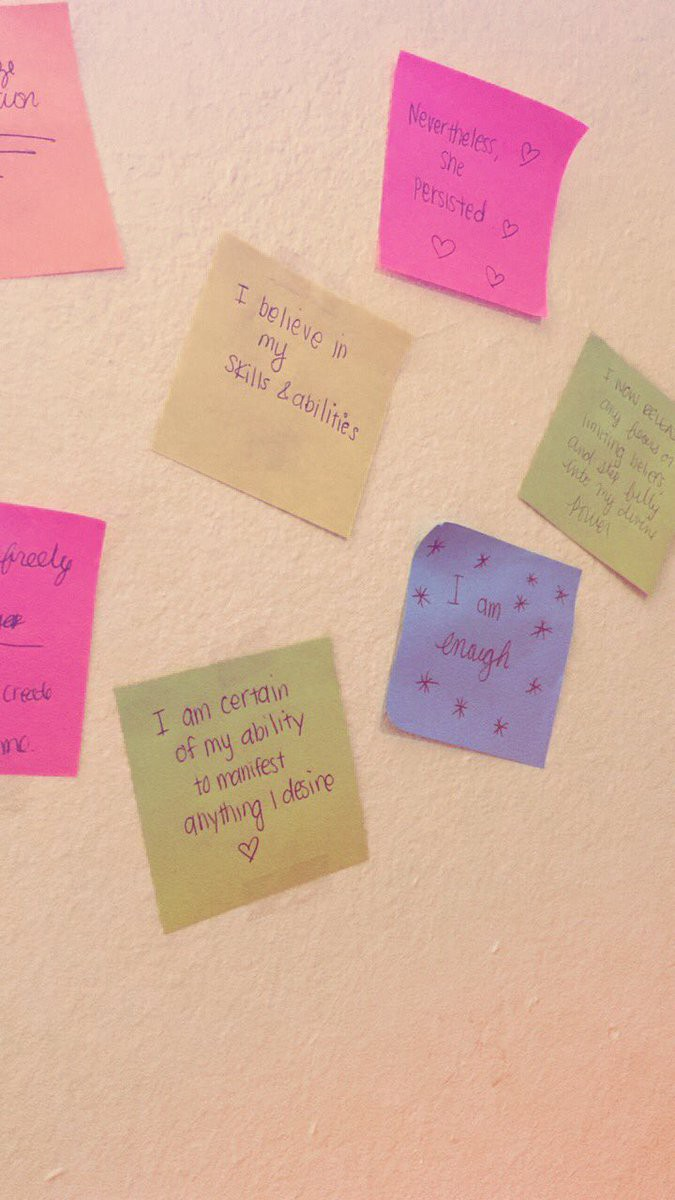 Monica has a wall of positive affirmations in her room. (Photo courtesy of Monica Luhar)