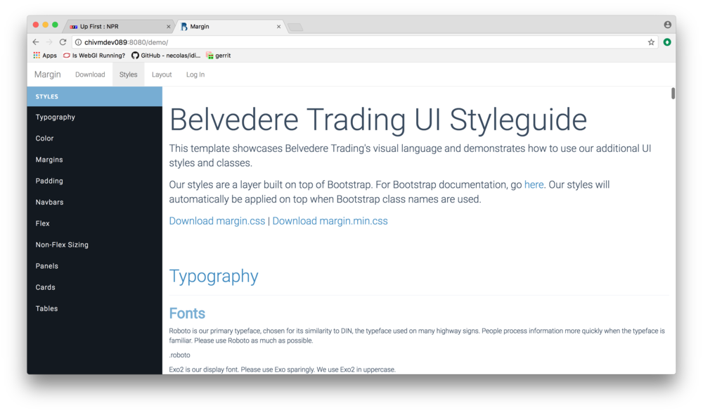 A preview of our styleguide and holy grail layout support