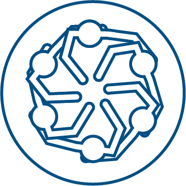 An icon symbolizing Team Belvedere. An overhead view of people in a huddle with their hands in.