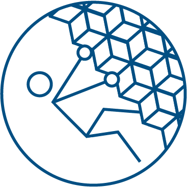 An icon symbolizing Own It. person climbing at an inverted angle.