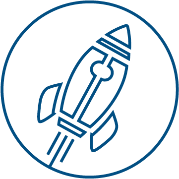 An icon symbolizing Iterative Innovation. A rocket ship taking off.