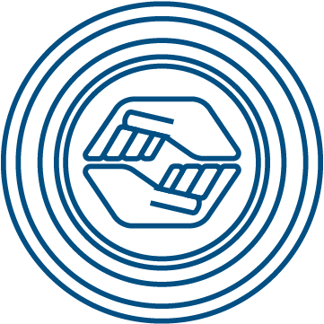 A logo of two hands surrounded by layers of circles.