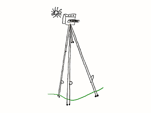 "Drawing of a tripod and camera for the final poster, by Holly age 3.5 years. Holly learned to draw in 3d over several weeks because she told us ""the camera isn't flat, it needs to POP off the page"""