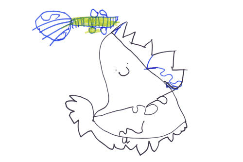 "Lara's drawing of  ""A Monster playing the guitar"""
