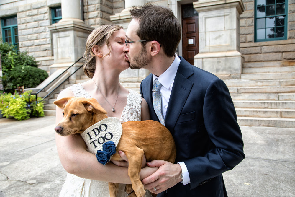 Elizabeth and Mark wedding ceremony was held at the DeKalb County Courthouse with their beloved dog,Rey, as the ring bearer.